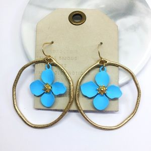 NWOT Anthropologie blue floral earrings